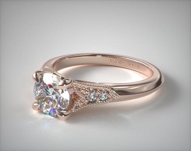 14K Rose Gold Art Deco Inspired Fleur-De-Lis Pave Engagement Ring