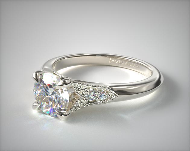 14K White Gold Art Deco Inspired Fleur,De,Lis Pave Engagement Ring