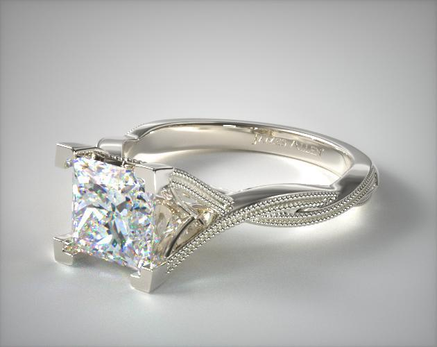 14K White Gold Milgrain Twist Tulip Basket Engagement Ring