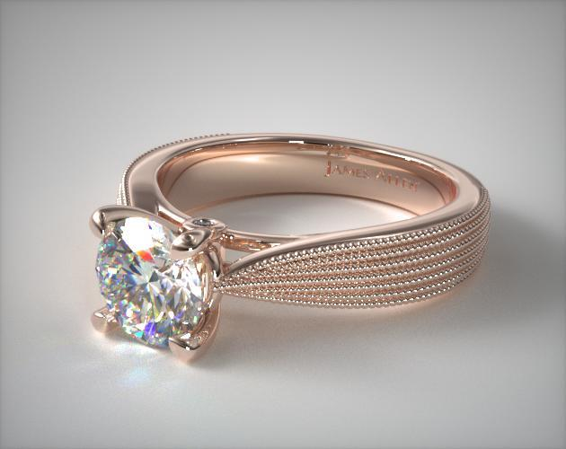 Engagement Rings Solitaire 14k Rose Gold Reverse Taper Modern Milgrain Ring Item 63313