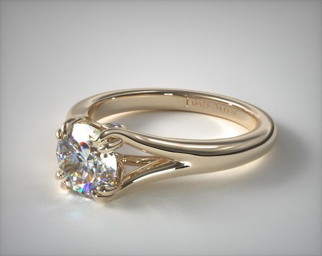14K Yellow Gold Split Shank Double Claw Solitaire Engagement Ring