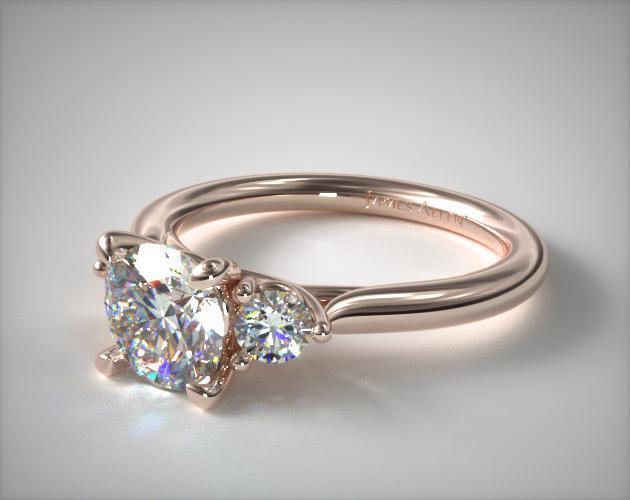 14K Rose Gold Classic Round Shape Three Stone Engagement Ring