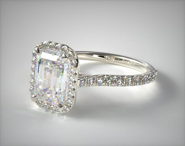 Platinum Pave Set Engagement Ring (Emerald Center)