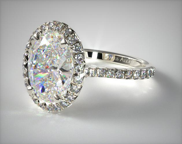 14K White Gold Pave Set Engagement Ring (Oval Center)