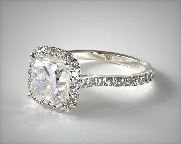 14K White Gold Pave Set Engagement Ring (Cushion Center)