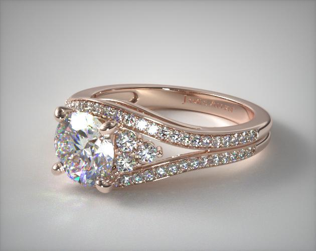 14K Rose Gold Double Pave Diamond Engagement Ring