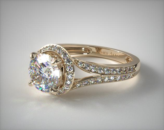 96979fb395f Flowering Tulip Diamond Halo Engagement Ring