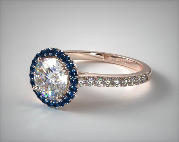 engagement rings, halo, 14k rose gold french cut pave blue ...