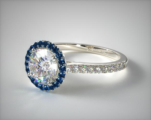 14K White Gold French Cut Pave Blue Sapphire Engagement Ring