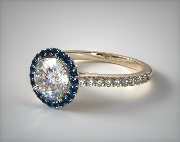 14K Yellow Gold French Cut Pave Blue Sapphire Engagement Ring