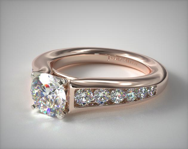 14K Rose Gold Graduated Channel Engagement Ring