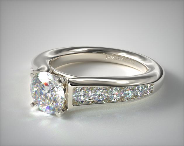 14K White Gold Graduated Channel Engagement Ring