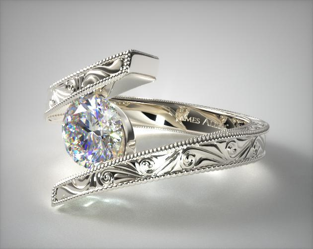 14K White Gold Hand Engraved Bypass Engagement Ring
