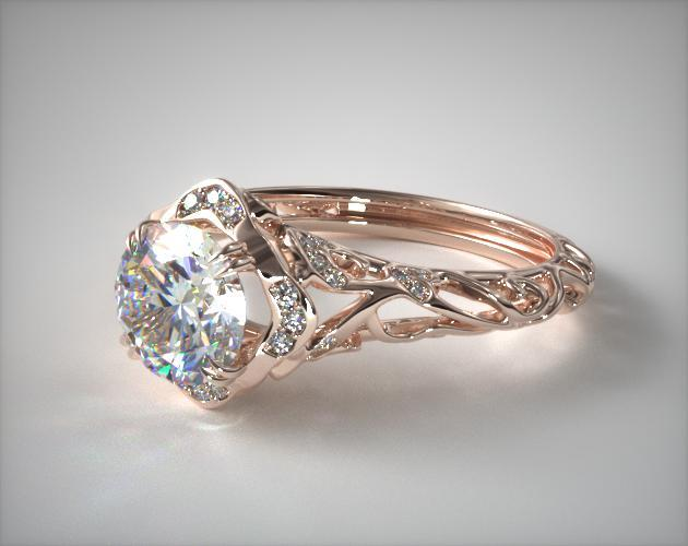 Diamond Filigree Engagement Ring 14k Rose Gold James Allen 17450r14