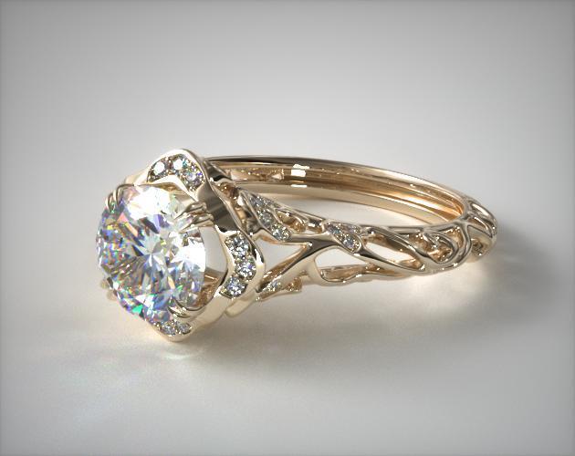 Diamond Filigree Engagement Ring 14k Yellow Gold 17450y14