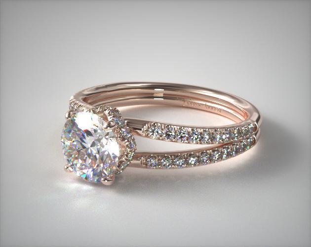 Split Shank Ribbon Engagement Ring | 14K Rose Gold | 17453R14
