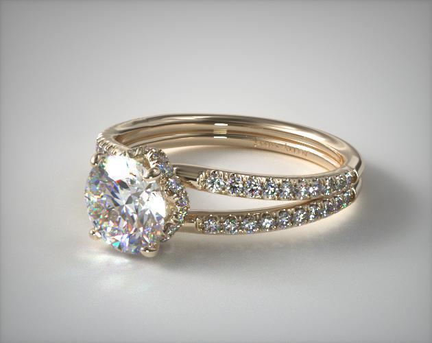 18K Yellow Gold Split Shank Ribbon Engagement Ring
