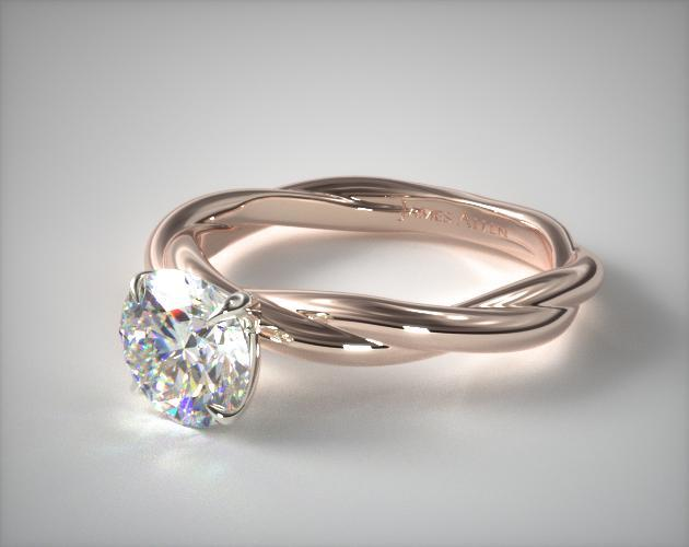 14K Rose Gold Rope Solitaire Engagement Ring