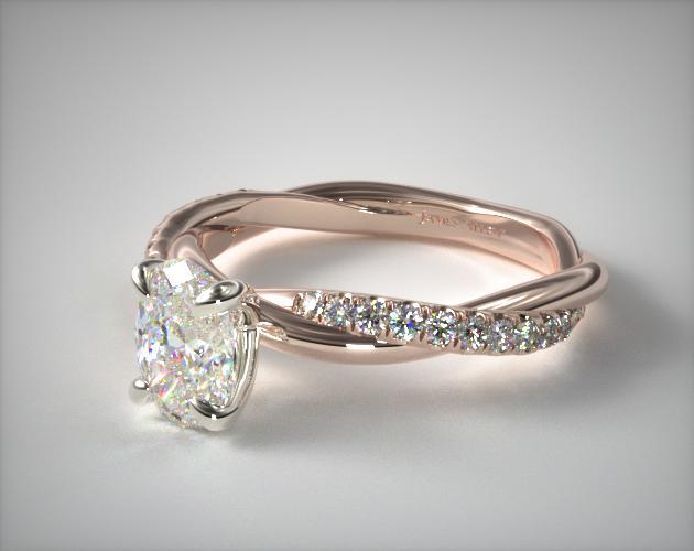 14K Rose Gold Pave Rope Engagement Ring
