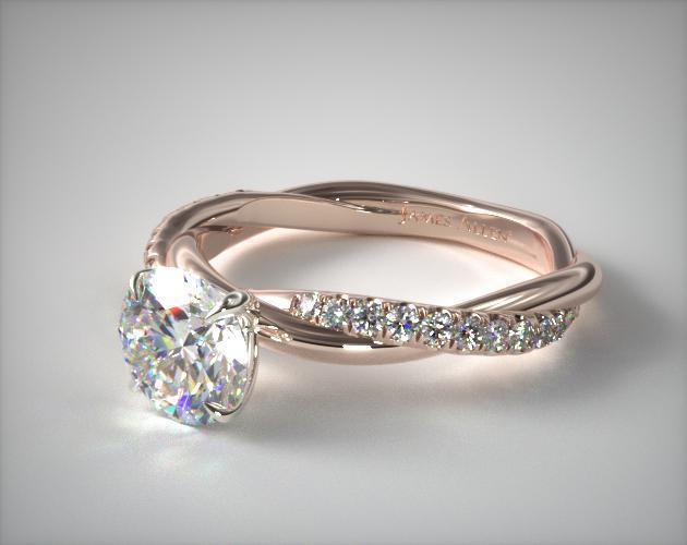 Pave Rope Engagement Ring | 14K Rose Gold | James Allen | 17457R14