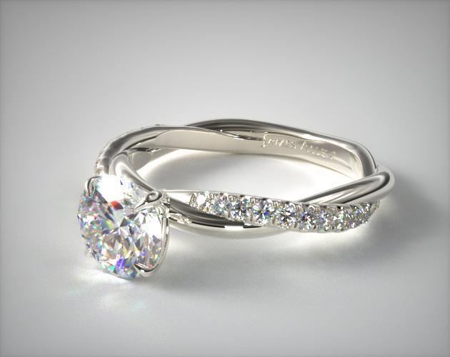 14K White Gold Pave Rope Engagement Ring