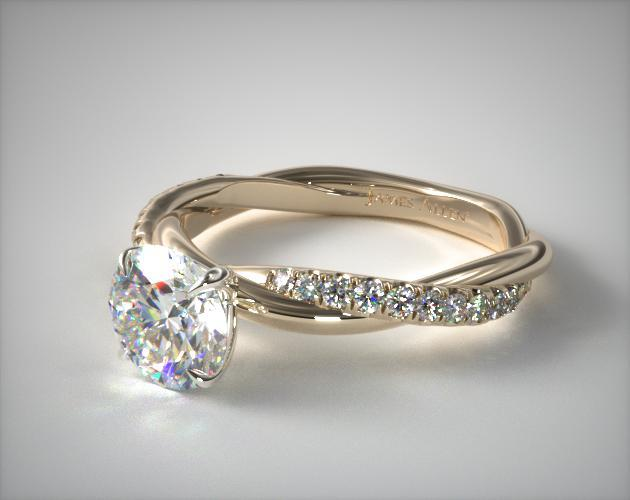 14K Yellow Gold Pave Rope Engagement Ring