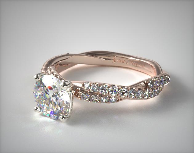 14K Rose Gold Pave Twist Diamond Engagement Ring
