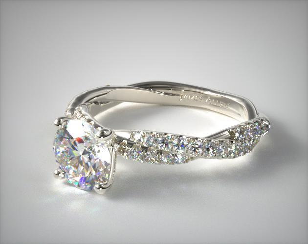 18K White Gold Pave Twist Diamond Engagement Ring