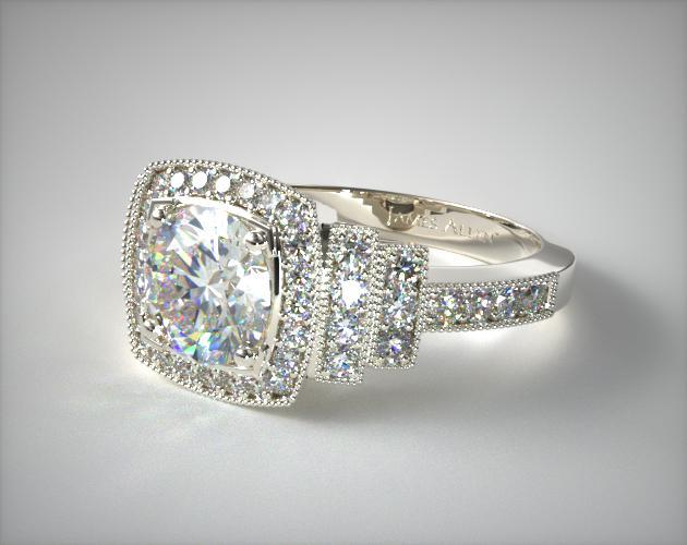 18K White Gold Pave Step Diamond Engagement Ring