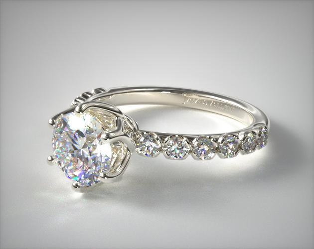 14K White Gold Scalloped Pave Engagement Ring