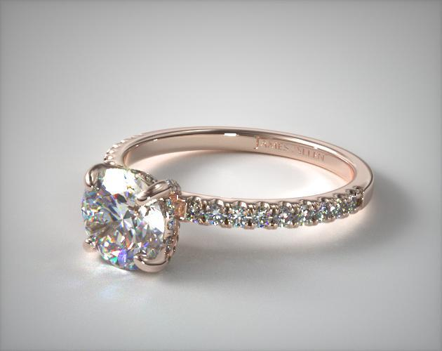 14K Rose Gold Petite Pave Crown Diamond Engagement Ring