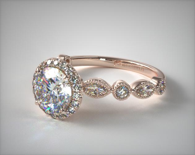 14K Rose Gold Marquise and Round Brilliant Diamond Halo Engagement Ring
