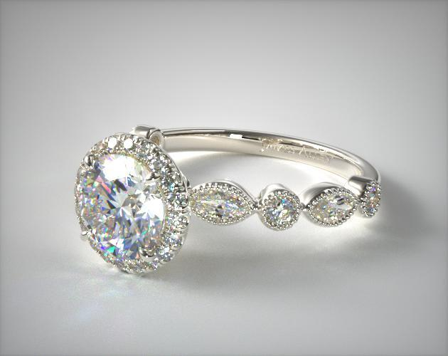 Platinum Marquise and Round Brilliant Diamond Halo Engagement Ring