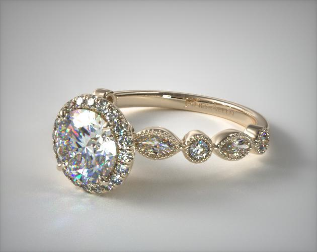18K Yellow Gold Marquise and Round Brilliant Diamond Halo Engagement Ring