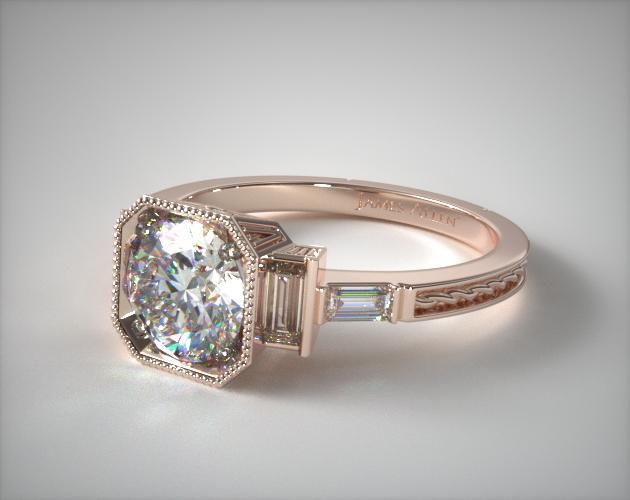 14K Rose Gold Engraved Basket Engagement Ring