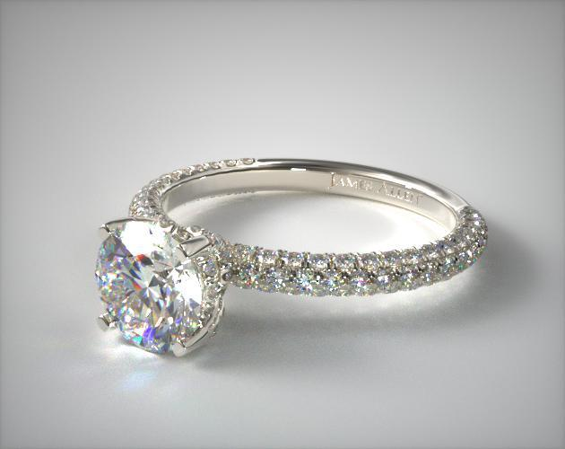 14K White Gold Trio Micro Pave Engagement Ring