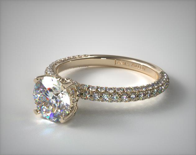 18K Yellow Gold Trio Micro Pave Engagement Ring