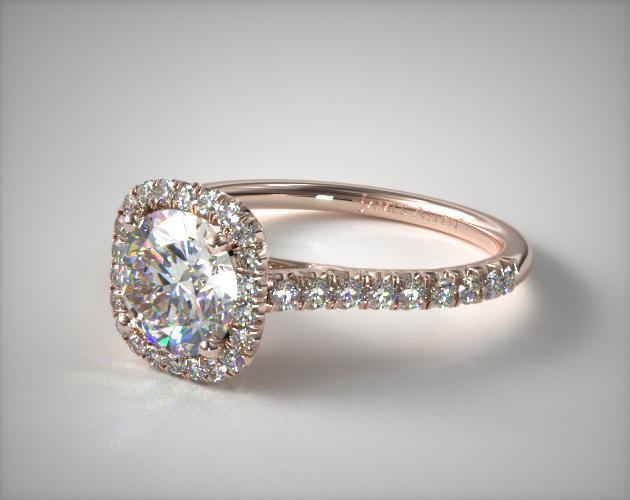14K Rose Gold Cushion Outline and Pave Gallery Engagement Ring