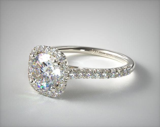 14K White Gold Cushion Outline and Pave Gallery Engagement Ring