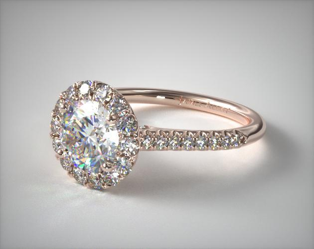 14K Rose Gold Pavé Accented Diamond Engagement Ring