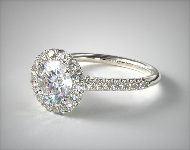 14K White Gold Pave Accented Diamond Engagement Ring