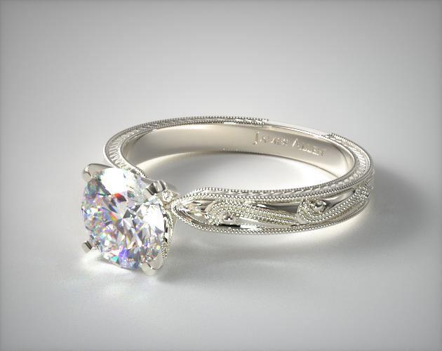 14K White Gold Engraved Solitaire Engagement Ring
