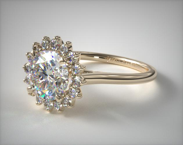 engagement rings  unique  14k yellow gold diamond pave