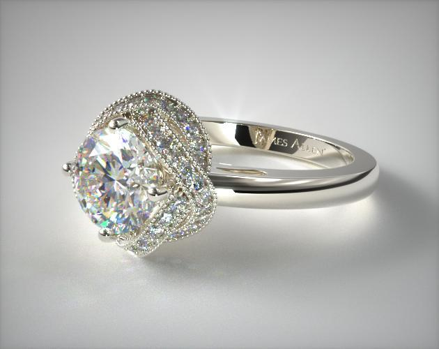 Infinity Milgrain Halo Engagement Ring Platinum 17535p
