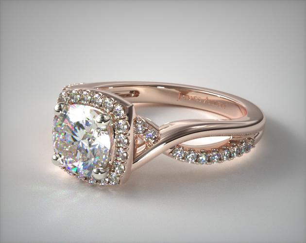 Infinity Halo Engagement Ring 14k Rose Gold James Allen 17538r14