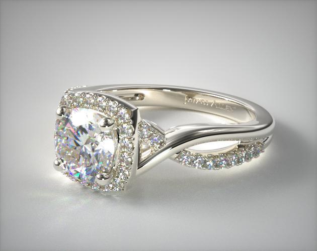 6e44390da7c66 14K White Gold Infinity Halo Engagement Ring