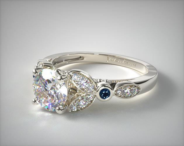 14K White Gold Floral Engagement Ring