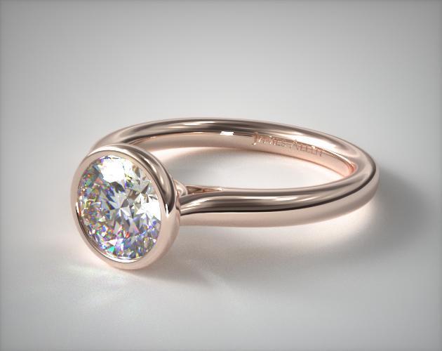 14K Rose Gold Bezel Set Diamond Engagement Ring