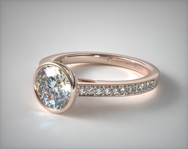 14K Rose Gold Bezel Set Pave Diamond Engagement Ring