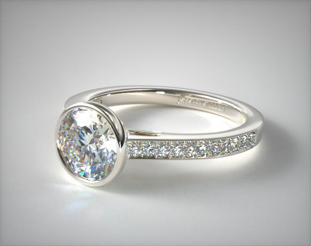 14K White Gold Bezel Set Pave Diamond Engagement Ring